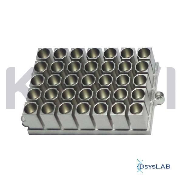 Bloco para 35 tubos de 1,5 ml, compatível com os banhos seco K80-100,K80-200,K80-01/02 eK80-120R, unidade K80-3515 (Kasvi)