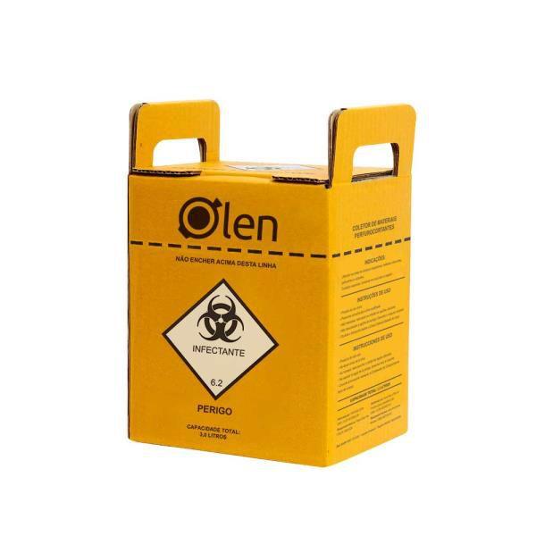 Caixa coletora para Perfurocortantes, em papelão ondulado, capacidade de 3 Litros, Caixa com 20 unidades, mod.: K61-3 (Olen)