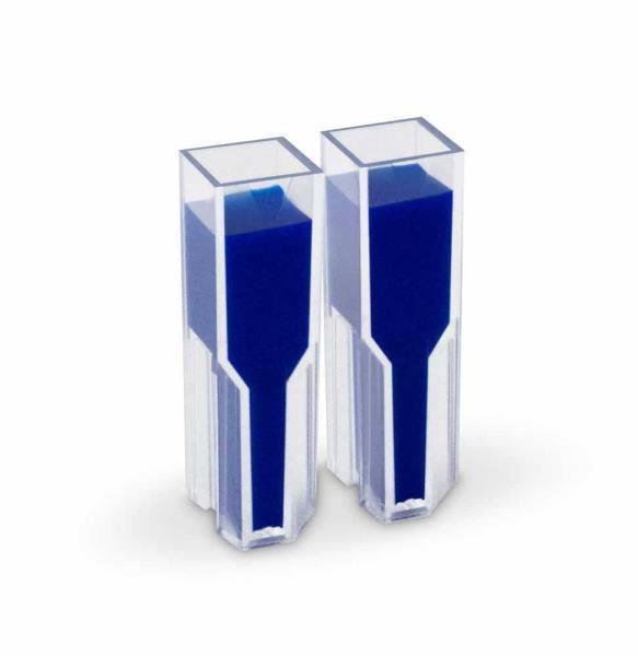 Cubeta Descartável (em Poliestireno) com Duas Faces Polidas, 1,5 mL, Passo 10 mm, caixa com 100 unidades, mod.: K42-015 (Olen)