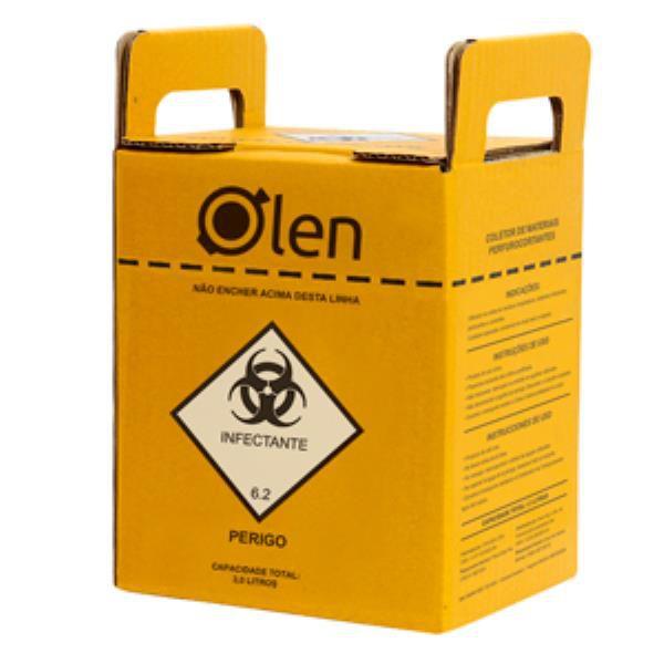 Caixa Coletora para Perfurocortantes, em Papelão Ondulado, Capacidade de 7 Litros, caixa com 20 unidades, mod.: K61-7 (Olen)