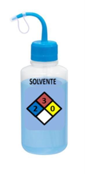 Pisseta com Classificação de Risco - Solvente, Graduada em Silk Screen, em Polietileno, Capacidade de 500 ml, mod.: 0415-8 (J.Prolab)