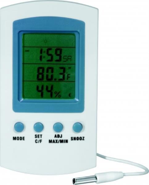 Termohigrômetro digital branco, em ABS, temperatura de -50ºC a +70ºC, umidade de 20% a 90%, mod.: 1566-1 (J.Prolab)