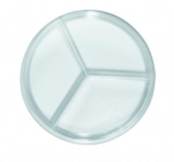 Placa de Petri 90x15mm, em Poliestireno, Tripartida com 2 divisórias, Estéril, pacote c/10 unidades, mod.: 0306-9 (J.Prolab)