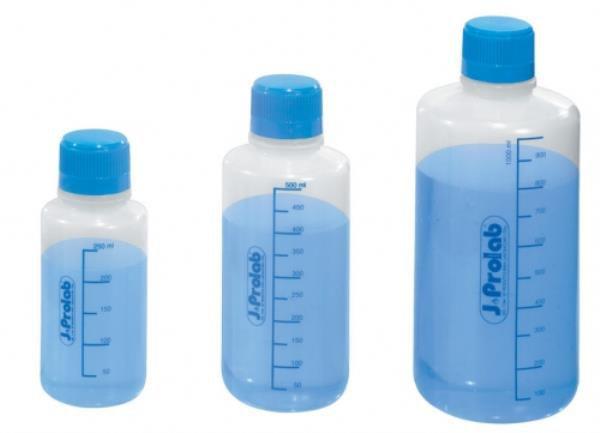 Frasco para reagente em PE não autoclavável, 250 mL, graduado, com selo de vedação em PE expandido, mod.: 0991-7 (J.Prolab)