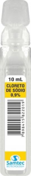 Cloreto de Sódio 0,9% (soro fisiológico), Ampola com 10 ml, Caixa com 200 unidades, mod: CLORSO0910214 (Samtec)