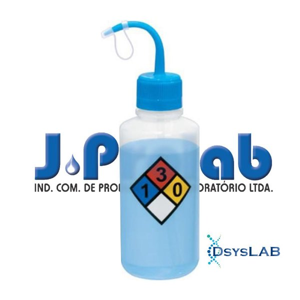 Pisseta com Classificação de Risco - Xileno, Graduada em Silk Screen, Polietileno, capacidade de 500 mL, mod. 0412-7 (J.Prolab)
