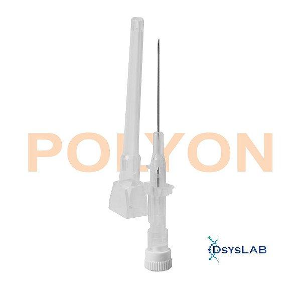 Cateter intravenoso 22G, 25mm, teflon, estéril, cor do canhão azul, caixa com 50 unidades, mod.: CATE22GT144 (POLYON)
