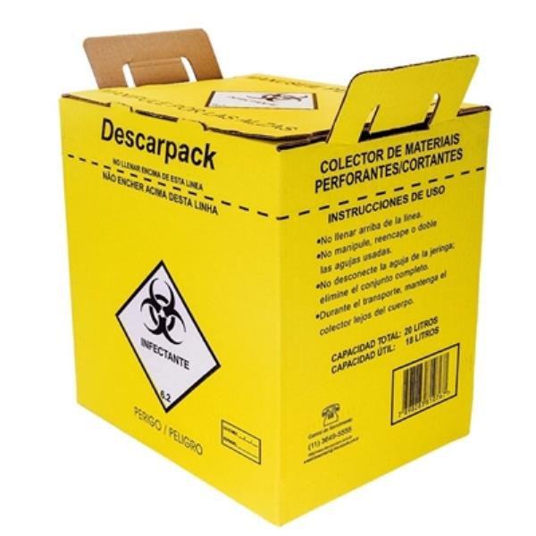 Coletor Material Perfurocortante 20,0 litros, em Papelão, Unidade, mod.: 0160401-UND (Descarpack)