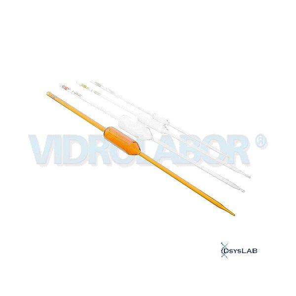 Pipeta volumétrica 1 traço esgotamento, Classe A, Capacidade de 1 mL, mod.: 75487A00001 (Vidrolabor)