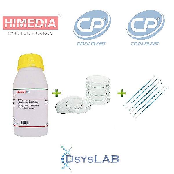 KIT Agar Sangue Base (Agar Infusão) 500 gr + 200 unidades Placa de Petri 90 X 15mm+ 100 unidades Alça 10 uL, mod.: KIT-DSYS-10 (DSYSLAB)