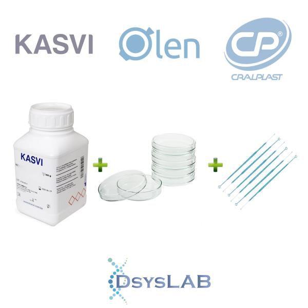 KIT Agar M-Endo LES 500 gr + 200 unidades Placa de Petri 90 X 15mm+ 100 unidades Alça 10 uL, mod.: KIT-DSYS-22 (DSYSLAB)