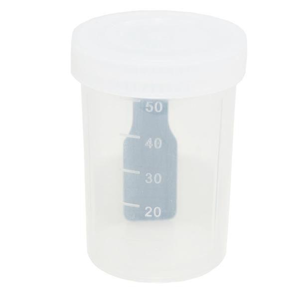 Coletor Universal 50 mL, Com Pá, Não Estéril, Frasco Transparente e Tampa Branca, Não Graduado, pacote 100 unidades, mod.: CLT50SIM-PCT (Cralplast)