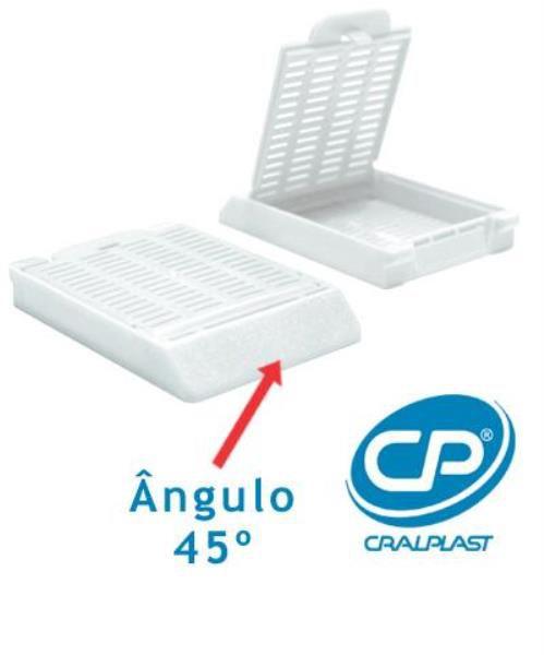 Cassete para biopsia, branco, ângulo de 45º, Caixa com 500 unidades, mod.: 2921NM (Cralplast)