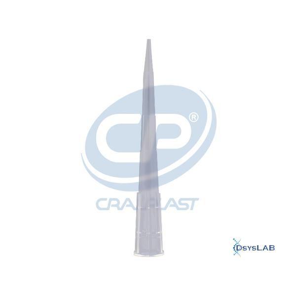 Ponteira sem filtro de 1 à 200 uL, livre de DNAse, RNAse, metais pesados e pirogênios, pacote com 1000 unidades, mod.: 1020 (Cralplast)