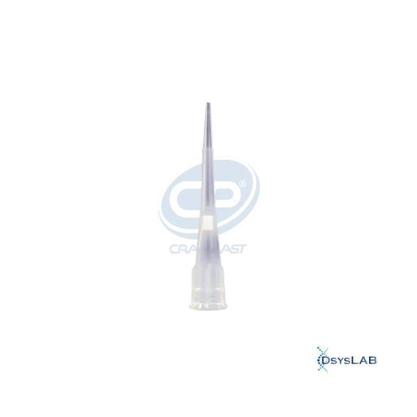 Ponteira sem filtro de 0,1 à 10 uL, curta, estéril, livre de DNAse, RNAse, metais pesados e pirogênios, rack com 96 unidades, mod.: 1013 (Cralplast)
