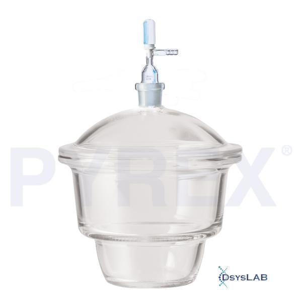 Dessecador 230mm, com torneira cônica padrão, 24/29, capacidade de 10,5 litros, unidade, mod.: 3121-250 (Pyrex)