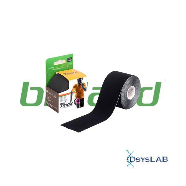 Bandagem funcional adesiva, tamanho 5m x 5cm, cor preto, rolo, mod.: TMAXPRETO (Bioland)