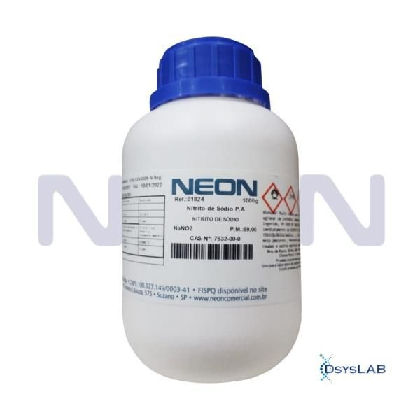 Nitrito de Sódio P.A., CAS 7632-00-0, Frasco com 1000 gramas, mod.: 01824 (Neon)