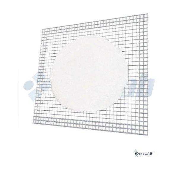Tela de arame galvanizado com disco de cerâmica refratária no centro, 16x16cm, mod.: RIC08216 (RICILAB)