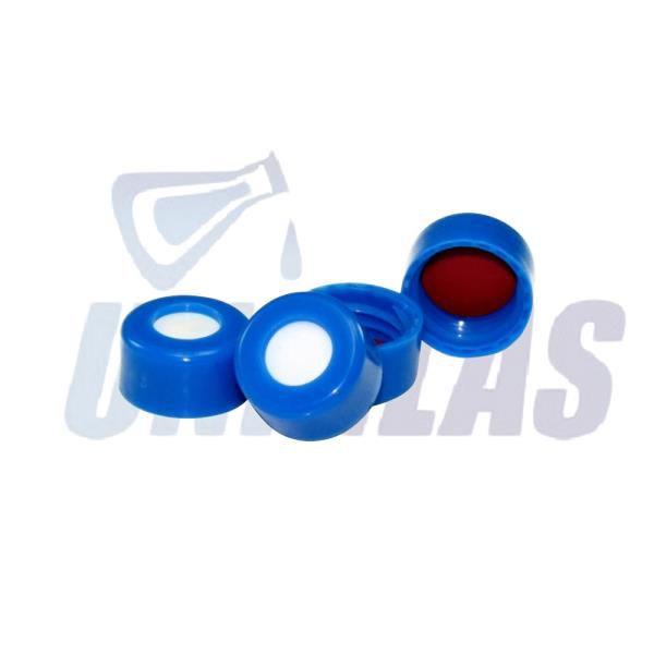 Tampa rosca N9 azul, abertura central 5,5mm, septo com espessura de 1,0mm em silicone/teflon (vermelho), caixa com 100 peças, mod.: 195.001 (Uniglas)