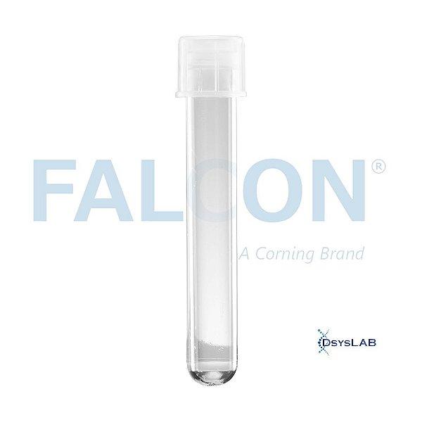 Tubo Falcon 12x75mm, capacidade de 5ml, poliestireno cristal, fundo redondo, estéril, Caixa com 20 pacotes contendo 25 unidades, mod.: 352052 (Falcon)