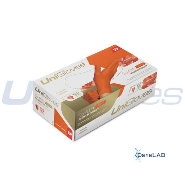Luva Procedimento Não Cirúrgico, Não Estéril, Látex, Microtexturizada, Laranja, caixa c/100 unidades, mod.: ORANGE-M (Unigloves)