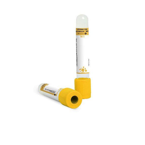 Tubo para coleta á vacuo com ativador de coágulo e gel, 5,0 mL, plástico, amarelo, rack com 100 unidades, mod.: FL5-305M (Firstlab)