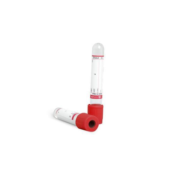 Tubo para coleta á vácuo com ativador de coágulo, 6,0 mL, plástico, vermelho, rack com 100 unidades, mod.: FL5-206M (Firstlab)