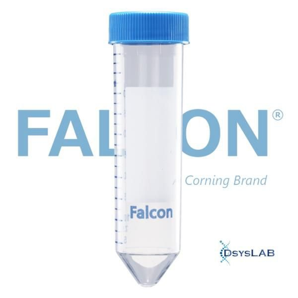 Tubo tipo falcon de 50 ml, graduado, fundo cônico, com tampa, estéril, Caixa com 500 unidades, mod.: 352070 (Falcon)