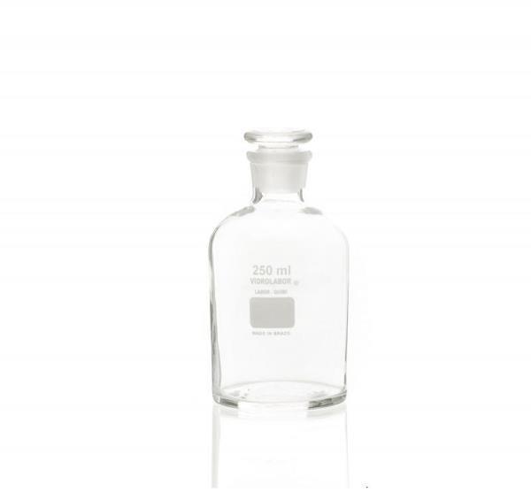 Frasco reagente transparente em borossilicato, boca estreita, rolha de vidro, capacidade para 14 litros, mod.: 76220B14000 (Vidrolabor)