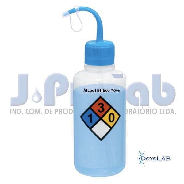 Pisseta álcool etílico 70%, graduada em silk screen, polietileno, capacidade de 500ml, 0360-1 J. Prolab