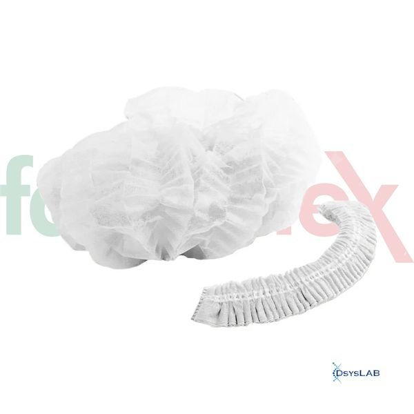 Touca descartável com elástico branca sanfonada, Pacote com 100 unidades TOUCA657 (Farmatex)
