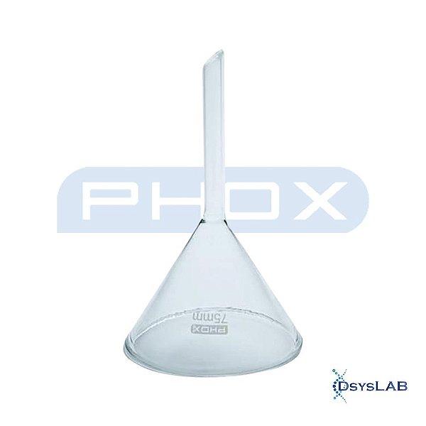 Funil analítico liso haste curta Ângulo 60° em Borossilicato de 150 mm (D), unidade (Phox)