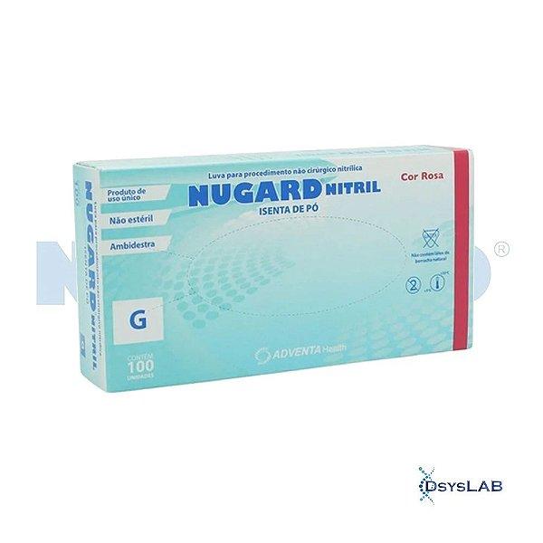 Luva Procedimento Não Cirúrgico, Não Estéril, Nitrilo, Sem Talco, Rosa, Grande, caixa c/100 unidades 7898949349648-CX (Nugard)