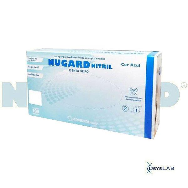 Luva Procedimento Não Cirúrgico, Não Estéril, Nitrilo, Sem Talco, Azul, Pequeno, caixa c/100 unidades 7898994057765-CX (Nugard)