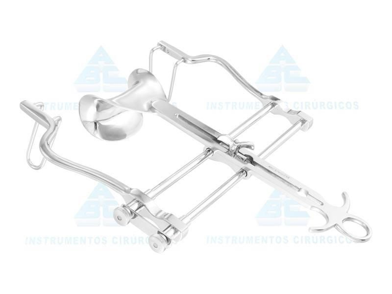 Afastador Baufour abdominal com válvula CV 45X80, confeccionado em Aço Inox 0004 (ABC)