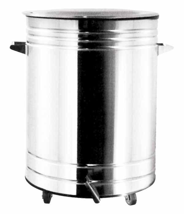 Lixeira Inox Polido com Pedal e Balde 39,8 x 65 cm,  capacidade p/ 60 L (Artinox)