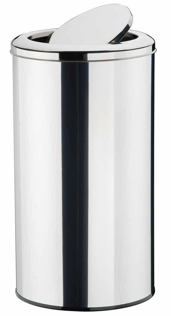 Lixeira Inox Polido com Tampa Basculante 38 x 54 cm,  capacidade p/ 60 L (Artinox)