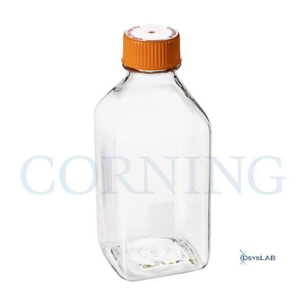 Garrafa de armazenamento em policarbonato, quadrada, graduada, com tampa de rosca, capacidade de 1 litro, unidade, mod.: 431433-UND (Corning)