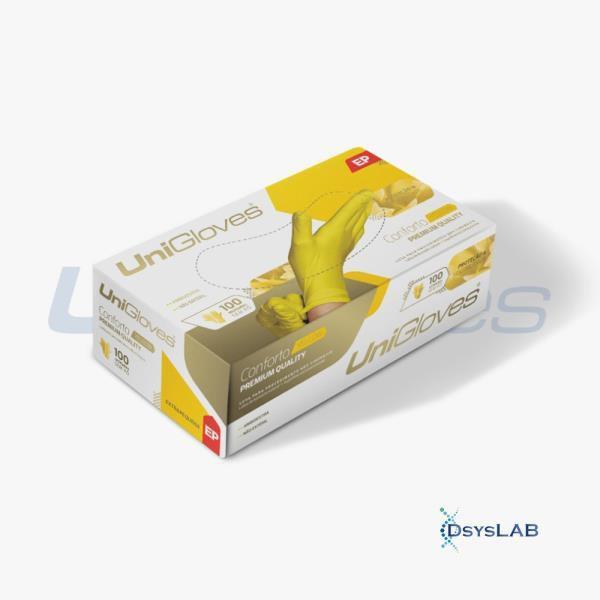 Luva Procedimento Não Cirúrgico, Não Estéril, Látex, Amarela, Média, caixa c/100 unidades, mod.: YELLOW-M (Unigloves)