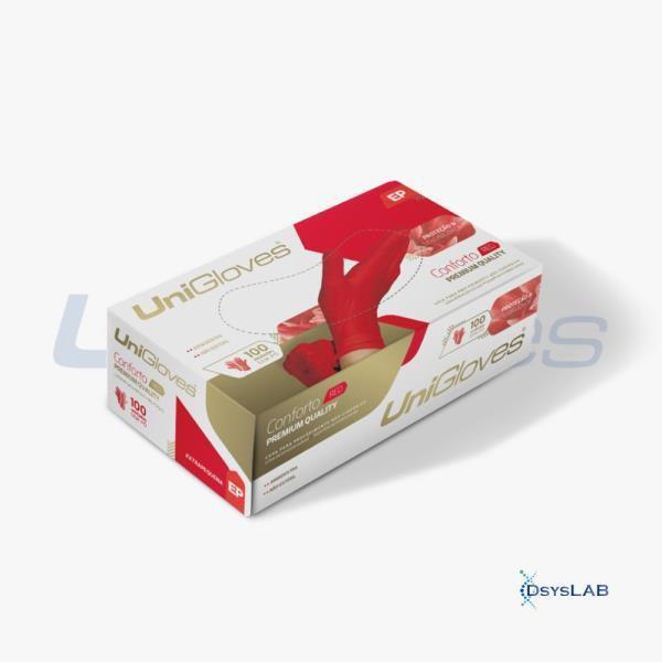 Luva Procedimento Não Cirúrgico, Não Estéril, Látex, Vermelha, Grande, caixa c/100 unidades, mod.: RED-G (Unigloves)