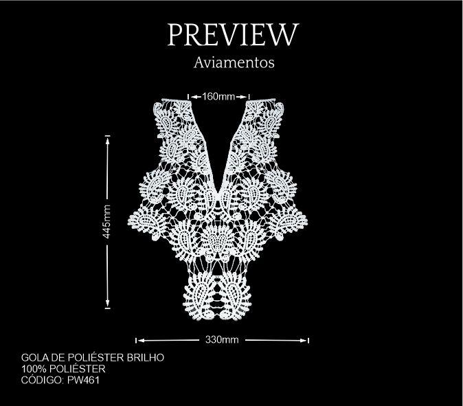 Gola de Poliéster Brilho PW461 PCT C/ 10 Unid. Larg. Aprox.: 330x 445 x 16 mm Composição: 100% Poliéster Atenção pode haver pequenas variações na medida