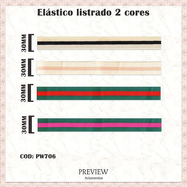 ELÁSTICO LISTRADO 2 CORES /  LARG. 30MM