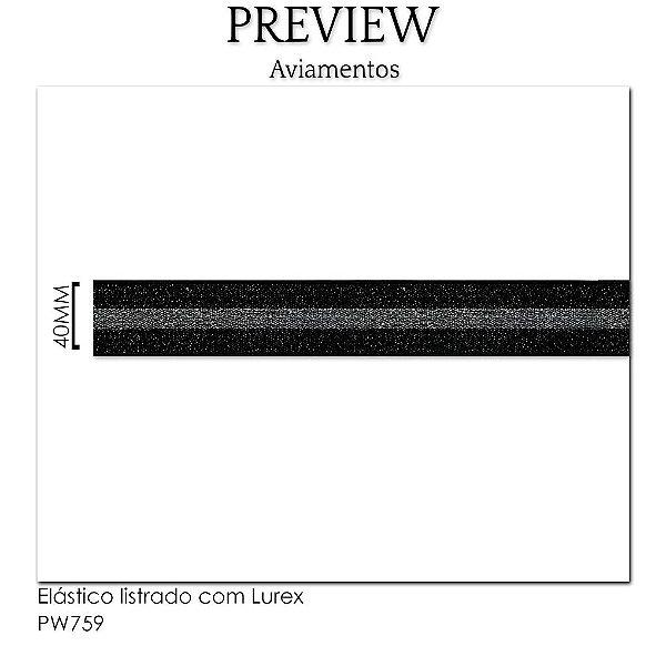 ELÁSTICO LISTRADO COM LUREX / LARG. 40M