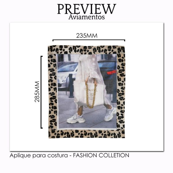 Aplique para costura FASHION COLLECTION/CUSTOMIZADO - Pct c/ 5 pc - 235x285MM - 100% Poliéster