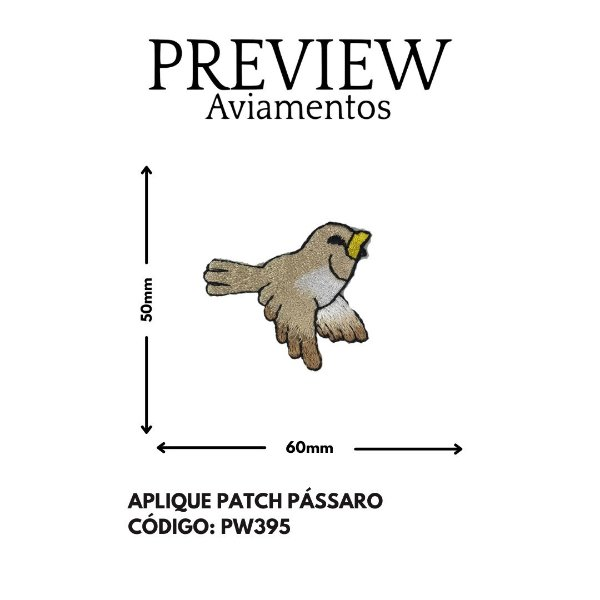 PATCHWORK TERMOCOLANTE  PASSARO PEQUENO LARG APROX: 50MMX60MM