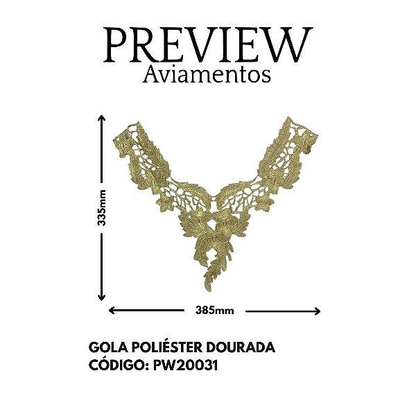 GOLA DOURADA 100%POLIESTER LARG APROX: 335MMX385MM