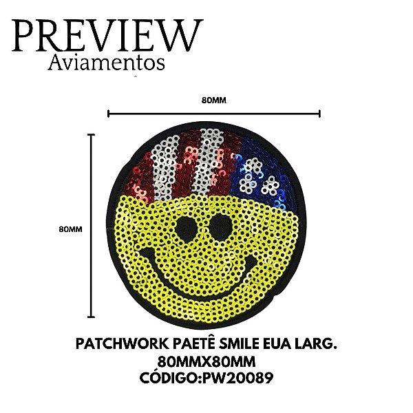 PATCHWORK PAETÊ SMILE EUA LARG 80MMX80MM