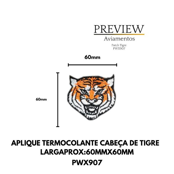 APLIQUE TERMOCOLANTE CABEÇA DE TIGRE LARG APROX:60MMX60MM
