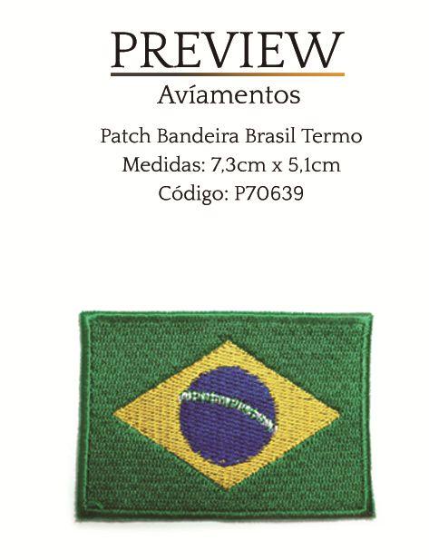PATCHWORK  BANDEIRA DO BRASIL TERMO 7,3CM X 5,1CM